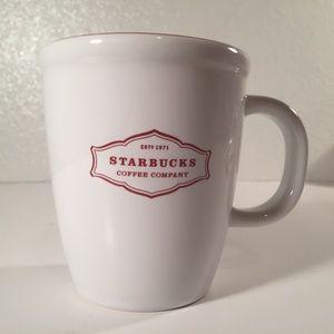 Starbucks red and white 2006 est 1971 Abbey mug